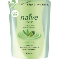 Kanebo Шампунь для нормальных волос с экcтрактом алоэ и маслом виноградных косточек Naive (сменная упаковка), 400 мл