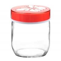Ємність для продуктів 0,425 л скляна Butterfly, червона