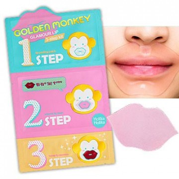 Набор для губ Holika Holika Golden Monkey Glamour Lip 3-Step Kit