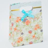 Подарочный пакет 16х12х6 см.- 9388 (Бантик голубой)