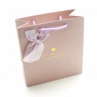 Подарочный пакет 15х14.5х7 см.- 3-0233 (Бантик розовый)