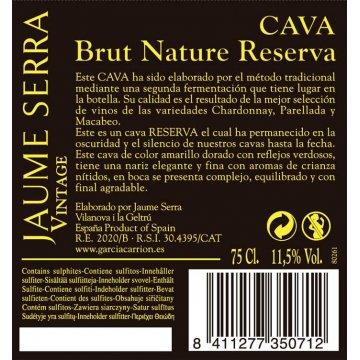 Игристое вино Cava Jaume Serra Brut Nature Reserva Vintage (0,75 л)