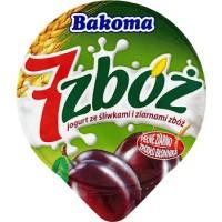 """Йогурт ТМ Bakoma """"7 злаков"""" слива, зеленый ячмень и ростки пшеницы (150 г)"""