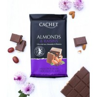 Премиум шоколад Cachet 32% Milk Chocolate with Almonds & Raisins, 300г
