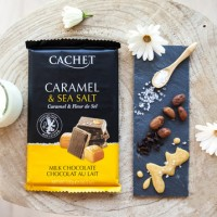 Премиум шоколад Cachet 32% Milk Chocolate with Salted Caramel , 300г