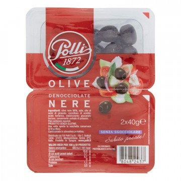 Оливки Polli 1872 Denoccialate Olive Nere (2х40 г)