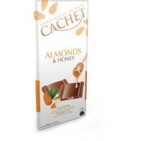 Шоколад Cachet Milk Chocolate Almonds & Honey, 100 г